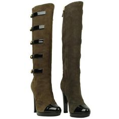FENDI Suede Military Button Knee High Boot - Faulty (€365) ❤ liked on Polyvore featuring shoes, boots, heels, footwear, knee boots, zipper boots, fendi boots, fendi and knee high boots