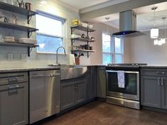 Contemporary Eclectic Kitchen With Open Shelving By BlankSpace LLC, Pittsburgh  PA. Stone Gray Shaker