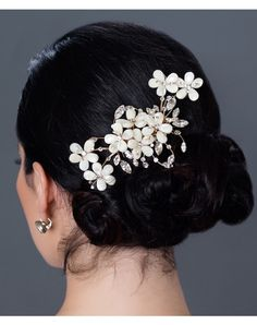 Erin Cole Mother of Pearl Flower Comb, Erin Cole, floral hairpiece, wedding hair, bridal hair, hair up hairstyle, black hair