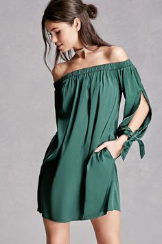 A satin mini dress featuring an off-the-shoulder design, vented long sleeves with self-tie straps, and an elasticized waist. This is an independent brand and not a Forever 21 branded item.