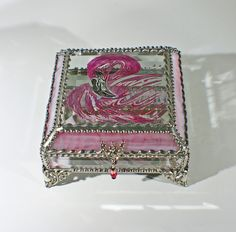 Flamingo Carved Glass Jewelry Box -  Faberge Style by FabergeStyleBoxes on Etsy