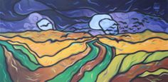 """Crows in Wheat Field"" – Van Gogh Painting 36"" x 18"" Oil On Canvas ©2014 Timothy Watters"