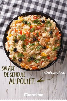 An easy recipe, fast and fresh for the summer. A semolina salad so taboulé! Chicken Lunch Recipes, Fast Easy Meals, Good Food, Yummy Food, How To Make Salad, Family Meals, Food Inspiration, Macaroni And Cheese, Food And Drink