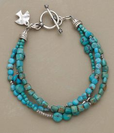 Jewelry Turquoise MEDLEY OF TURQUOISE BRACELET -- Different shapes and shades of turquoise harmonize with Thai silver beads. The bracelet's three strands secure with a sterling silver toggle. Wire Jewelry, Jewelry Crafts, Beaded Jewelry, Jewelery, Jewelry Bracelets, Silver Jewelry, Silver Beads, Jewelry Ideas, Necklaces