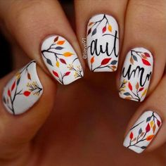 Fall Nails: 12 Fabulous Nail Art Ideas to Try This Weekend Herbst Nageldesign Nail Design Spring, Fall Nail Art Designs, Nails Design Autumn, Thanksgiving Nail Art, Thanksgiving Ideas, Gel Nagel Design, Nagel Hacks, Autumn Nails, Fall Nail Art Autumn