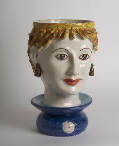 Libra. Headvase design by Ugo La Pietra. Made by Ceramiche Silva, Caltagirone (Catania). Handmade ceramic. 2 sizes: height 35 cm; height 15 cm. Unique piece. Signed by designer and ceramist.
