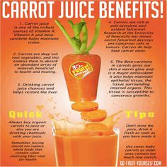 Drinking carrot juice regularly can really help give you skin that glows and eyes that shine. If you have skin problems getting your liver healthy is one of the first places to start. Carrot juice is an excellent liver cleanser and healer. Carrot Juice Benefits, Health Benefits Of Carrots, Juicing Benefits, Orange Juice Benefits, Fruit Benefits, Healthy Drinks, Healthy Tips, Healthy Eating, Healthy Recipes
