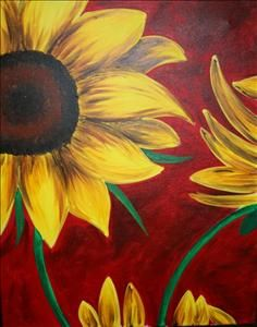 Go to the one in Cape Coral. Sunflower on Red - Sarasota, FL Painting Class - Painting with a Twist Sunflower Art, Sunflower Paintings, Kunst Poster, Autumn Painting, Easy Paintings, Canvas Paintings, Paint Party, Learn To Paint, Pictures To Paint