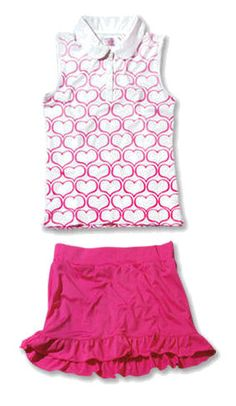 Garb Junior Girls Golf/Tennis Outfits - Andrea Polo Shirts & Willow Skorts (Pink)