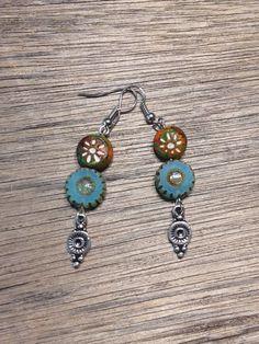 Bohemian Earrings, Clay, Czech Glass, Silver, Handmade, Beaded, Hippie, Bohemian, Jewelry