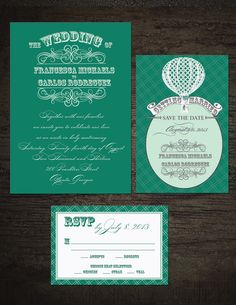 Classic wedding invite with a whimsical twist in Emerald green and cream. To order, visit my etsy shop: http://www.etsy.com/shop/Tiedwithaknot