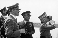 Adolf Hitler and King Viktor Emanuel III. - during the naval review on board of the war ship 'Conte Cavour'