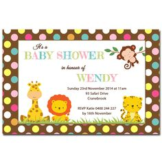 Personalised Baby Shower Invitations - Deezee Designs - Jungle Animal Safari Baby Shower Invitation, Personalised Photo Invitations