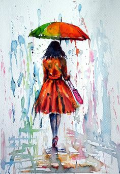 Buy Colorful rain, a Watercolor on Paper by Kovacs Anna Brigitta from Hungary. - Buy Colorful rain, a Watercolor on Paper by Kovacs Anna Brigitta from Hungary. It portrays: People, - Umbrella Painting, Rain Painting, Umbrella Art, Painting & Drawing, Drawing Rain, Shadow Painting, Painting People, Painting Abstract, Poster Color Painting