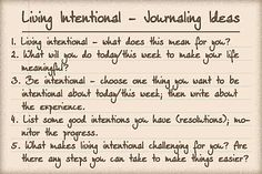 Living intentionally journal prompts