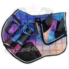 Rainbow Matching Saddle Pad Set – CHEVAL & RIDER WEAR - I wonder if the sharply and alcohol method would DIY this look using a white pad. Horse Saddle Pads, Horse Saddles, Saddle Rack, Western Saddles, Horse Halters, Horse Boots, Horse Gear, Horse Tips, English Horse Tack