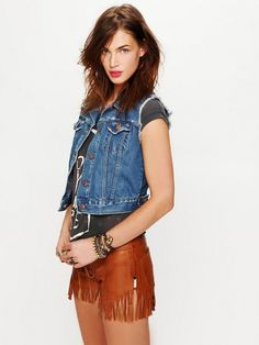 One Teaspoon Leather Fringed Shorts Tan...got these for Gentlemen of the Road concert!