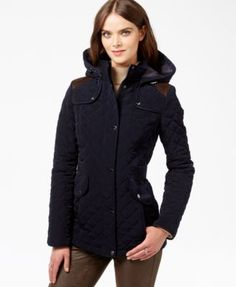 Laundry by Design Hooded Quilted Coat | macys.com