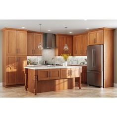 Home Decorators Collection Hargrove Assembled in. Vanity Sink Base Cabinet in - The Home Depot Cherry Wood Kitchen Cabinets, Cherry Wood Kitchens, Hickory Kitchen Cabinets, Light Wood Cabinets, Light Wood Kitchens, Brown Cabinets, Kitchen Cabinet Colors, Stain Cabinets, Pantry Cabinets