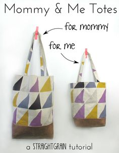StraightGrain. A blog about sewing: Mommy and Me totes: Tutorial (+ GIVE-AWAY)