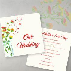 Summer Bouquet, folded card, printed on cream. Wedding Invitation Samples, Unique Wedding Invitations, Wedding Stationery, Lavender Cottage, Cottage Wedding, Cream Wedding, Reception, Marriage, Bouquet