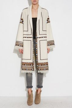 ECRU BRAYTON COAT BY ISABEL MARANT | SHOPHEIST.COM Boho Fashion, High Fashion, Winter Fashion, Fashion Outfits, Womens Fashion, Fashion Design, Fashion Trends, Moda Boho, Mode Abaya