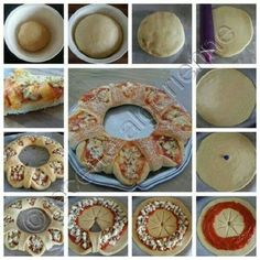 Here is a tasty and beautiful pizza tutorial .It tastes like pizza, but it looks royal. Basically, the difference comes from the way you structure the dough. Get rid of the boring same-shaped pizza and try this one. Pizza Recipes, Cooking Recipes, Recipes Dinner, Salad Recipes, Comida Diy, Tasty, Yummy Food, Appetizers For Party, Diy Food