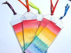 Rainbow bookmarks, original watercolours, red, yellow, green, mauve, blue, orange, hostess gift
