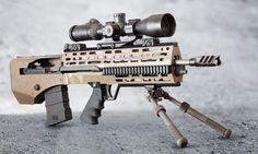 A Springfield M1A installed within a Juggernaut Tactical Rogue Bullpup kit.