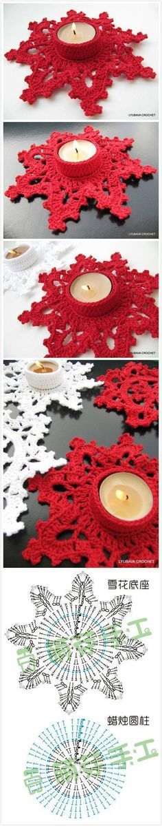 diy crochet snowflakes instructions in japanese but an experienced crocheter could suss out from charts here - PIPicStatscrochet snowflake for candle holder Crochet Home, Crochet Gifts, Diy Crochet, Crochet Doilies, Crochet Flowers, Crochet Christmas Ornaments, Crochet Snowflakes, Snowflake Pattern, Handmade Christmas
