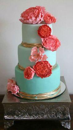 Turquoise, Gold, and Coral Wedding Cake #CoralWeddingIdeas