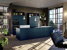 Keuken donkerblauw met kookeiland Outdoor Furniture Sets, Outdoor Decor, Parisian Style, New Homes, Minimalist, Villa, House Design, Home Decor, Interior Ideas