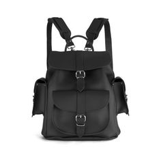 Grafea Show Business Medium Leather Rucksack - Black ($275) ❤ liked on Polyvore featuring bags, backpacks, black knapsack, leather bags, black backpack, genuine leather bag and grafea backpack