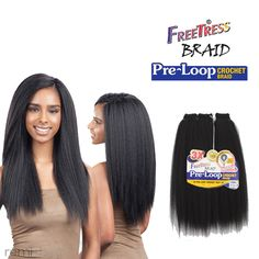 """Freetress Pre-Loop Crochet Yaky 16"""" - Color 1 - Synthetic Braiding"""