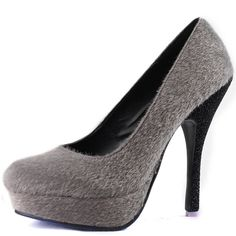 Save 10% + Free Shipping Offer * | Coupon Code: Pinterest10 Material: Faux Pony Hair Material. Approx 5.5 inches Stiletto, 1.25 inch Tribute Platform True to size, Round toe Platform Pumps Product Code: Mare-01 Grey Color Women's Fahrenheit Mare-01 Grey Faux Pony Hair Platform Stiletto Pumps