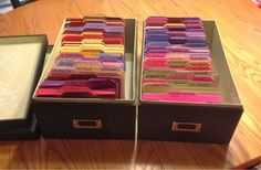 DIY craft organization.  Embossing Folder Storage Using Stampin' Up!'s Large Die Box- and the envelope punch board