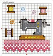 Máquinas de coser, tijeras, costura, motivos en punto de cruz | En Punto de cruz