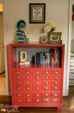 Turn a bookcase into a faux card catalog