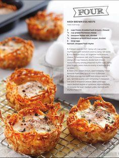 Breakfast Finger Foods, Shredded Hash Browns, Spinach Tortellini, Egg Nest, Brown Eggs, Fresh Thyme, Large Egg, Parmesan, Frozen