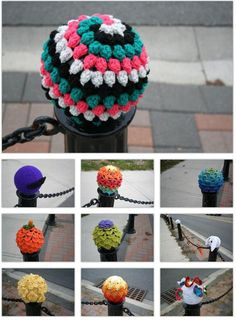 Crochet yarn bombing  http://thatsknotart.tumblr.com/post/32641538577/yarn-balls-crochet-september-29-2012-simcoe