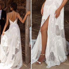 noiva-casamento-na-praia-vestido-fenda-e-decote-costas Wedding Bride, Dream Wedding, Wedding Designs, Bridal Dresses, Marie, Party Dress, White Dress, Wedding Inspiration, Formal Dresses