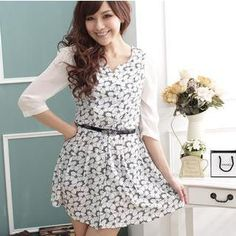 Buy 'TANGYIZI – 3/4-Sleeve Flower-Print Chiffon Dress' with Free Shipping at YesStyle.co.uk. Browse and shop for thousands of Asian fashion items from Taiwan and more!