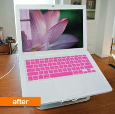 Before After: A MacBook Remade. Wyenandt do you think Perry would kill me if he came home, opened the mac, and found this? Macbook Laptop, Diy Laptop, Laptop Brands, I Believe In Pink, Keyboard Cover, Apple Products, Have Time, Girly Things, Diy And Crafts