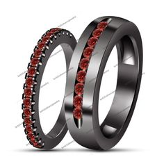 Couple His & Her Red Garnet Engagement Ring Wedding Band Set Men's Women's New #br925 #CoupleBandRingSet