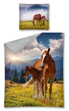 Niebieska pościel dla dziecka z koniami
