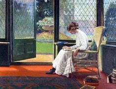 The Library Window di Albert Ranney Chewett (Inghilterra 1877 - 1965)