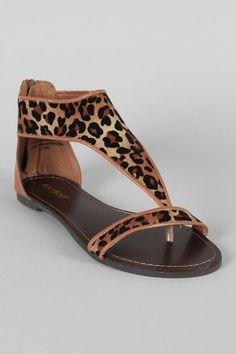 Leopard Open Toe Flat Sandal