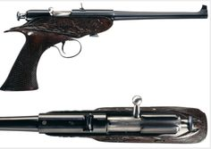 The rare Winchester bolt action pistol, An experimental pistol, these firearms were based off of the Model 1902, a famous .22 rifle made by Winchester marketed as a youth firearm. The pistol used the same action as the rifle, is chambered for .22 long rifle, and is most recognizable by its long tapered barrel. The model never went into production, but they were popular among employees, who would buy (or smuggle) surplus parts and build their own. As a result, no two are the same.
