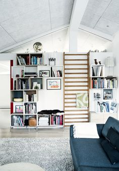 Bookcases in the living room with a rib in between, for the small active break in your beloved reading time.