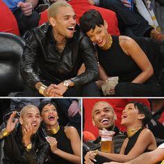 Rihanna & Chris Brown courtside at the lakers game on christmas